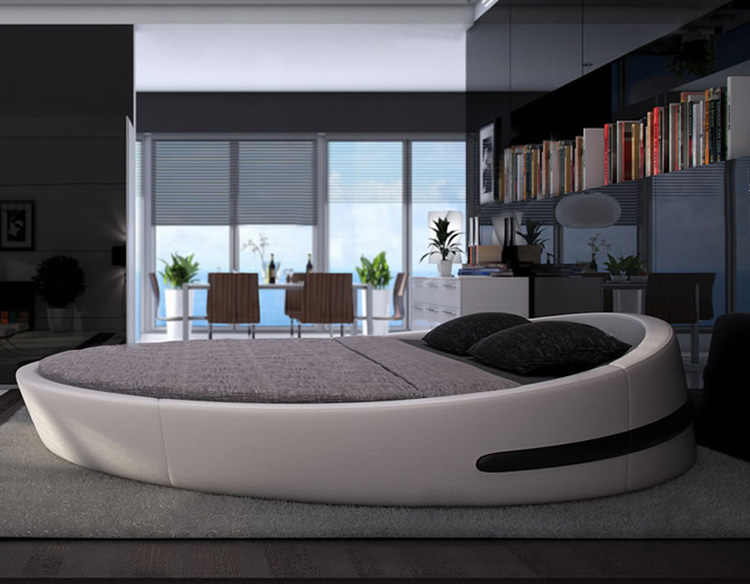MYBESTFURN Italy Design Luxury large size round bed,Top grain leather Soft Bed, Villa King zise round beds furniture B71