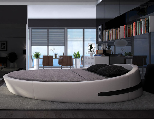 Mybestfurn Italy Design Luxury Large Size Round Bed Top Grain Leather Soft Villa