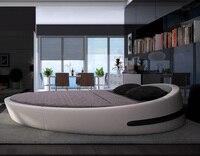 Mybestfurn Италия Дизайн Роскошные Большие размеры круглая кровать, Топ зерно кожа мягкая, Villa King zise круглый мебель кровати B71