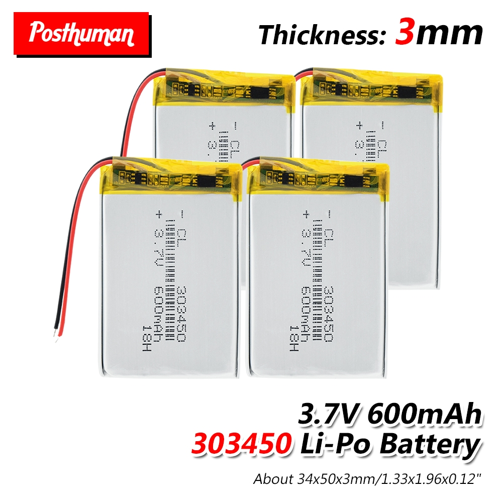 Rechargeable 3.7V 600mAh Battery 303450 Lithium Polymer Li-Po Li Ion Battery Lipo Cells For MP3 MP4 GPS Electric Toy BT Headset
