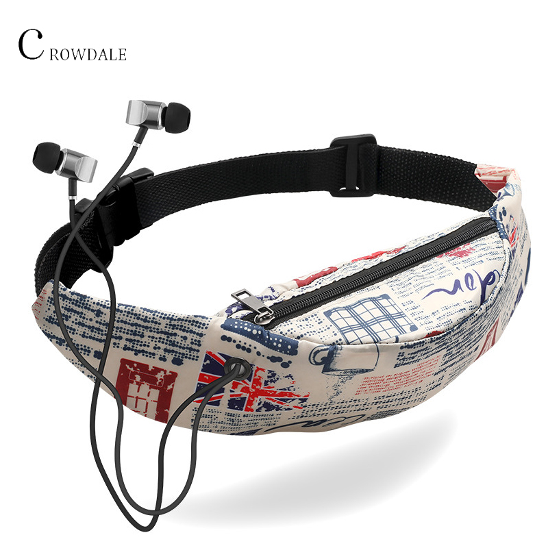 CROWDALE Fanny Pack 3D Colorful Printing Waterproof Waist Bag Sport Belt Bags With Headphone Plug Travelling Mobile Phone Bag