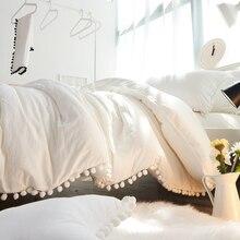 4/6 шт. свадьба/Принцесса комплект постельных принадлежностей king size Pom-Бахромой Пододеяльник набор, 100 мыть хлопок уютный белый плоский лист, подушки обман