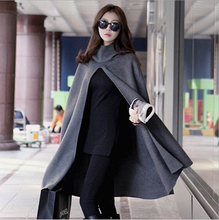 Autumn and winter hooded cape coat loose big yards bat sleeve woolen women long coat(China)