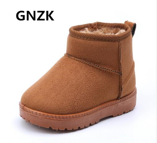GNZK 2017 winter boots for boys and girls Genuine Leather snow boots kids Plush warm shoes size 21-34