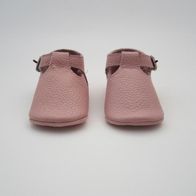 Rosa pó T Bar/Cinta Vestido Da Criança Do Bebê Sapatos Mocassins