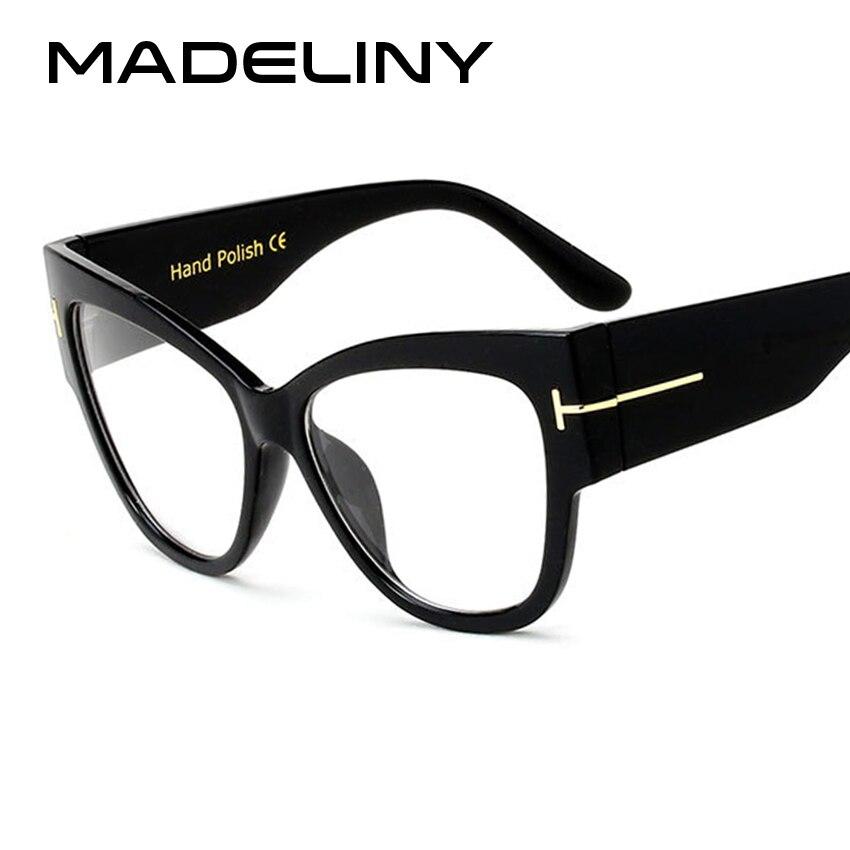 MADELINY Fashion Women Cat Eye Glasses New Oversized Vintage Eyeglass Frame Luxury Clear Lens Glasses  Lunette De Vue MA025