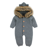Infant Baby Rompers Winter Clothes Newborn Baby Boy Girl Knitted Sweater Jumpsuit raccoon Fur Hooded Kid Toddler Outerwear