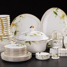 Jingdezhen ceramics 58 head bone china tableware bowl steak dishes suit Phnom Penh genuine gifts
