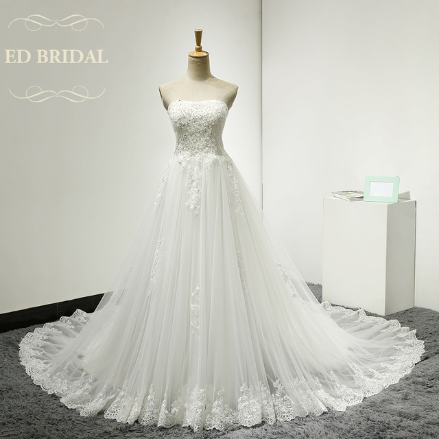 A Line Strapless Tulle Wedding Dress With Beaded Lace Liques Corset Back Bridal Gown Vestido De