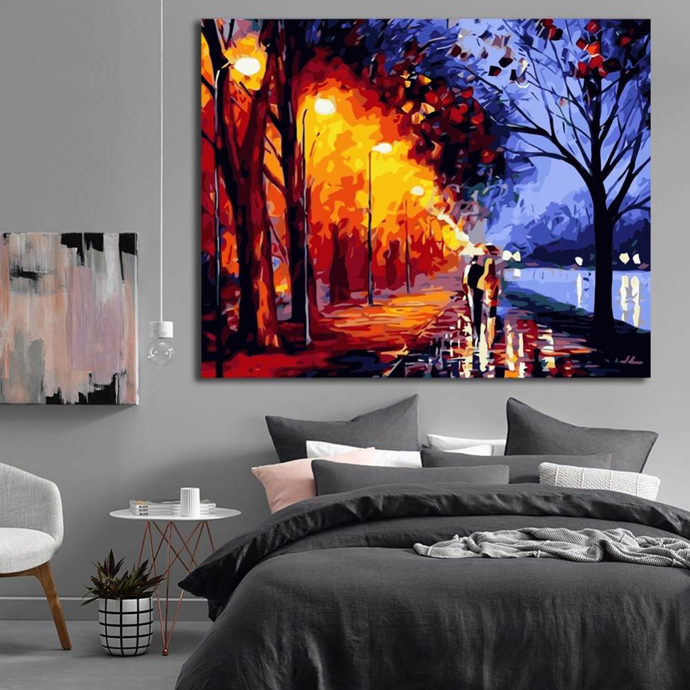 Street light Couple DIY Oil Painting By Numbers Home Decor Canvas Painting Modern Wall Art for living room Acrylic Paint 40x50cm in Painting Calligraphy from Home Garden