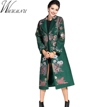 Wmwmnu Europe Style Winter Chinese Tranditional Vintage Luxury Gorgeous Embroidery Wool Coat Ladies Outerwear long coats ls363a