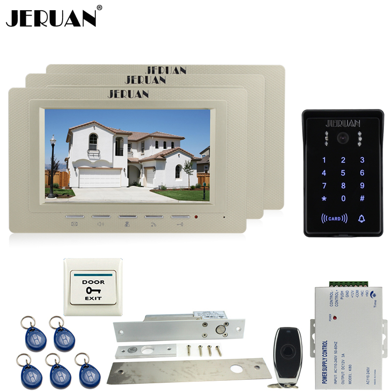 JERUAN New 7`` video door phone intercom Entry system Kit 3 house RFID waterproof touch key password keypad access camera +power