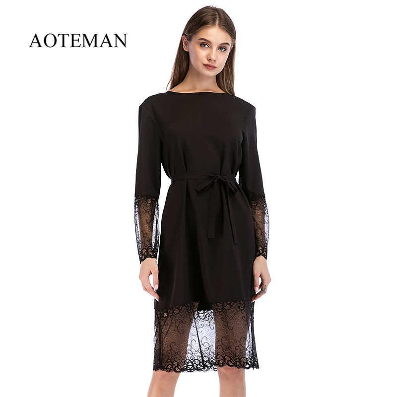 126c52df8f5 AOTEMAN осень лето платье для женщин 2019 Сексуальная выдалбливают с  длинным рукавом кружево Винтаж элегантные однотонные