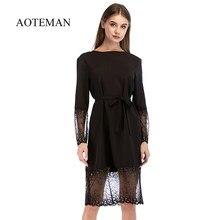 2535c667c89bd AOTEMAN Sonbahar yaz elbisesi Kadın 2019 Seksi Hollow Out Uzun Kollu Dantel  Elbise Vintage Zarif Katı Siyah Parti Elbiseler Vest.