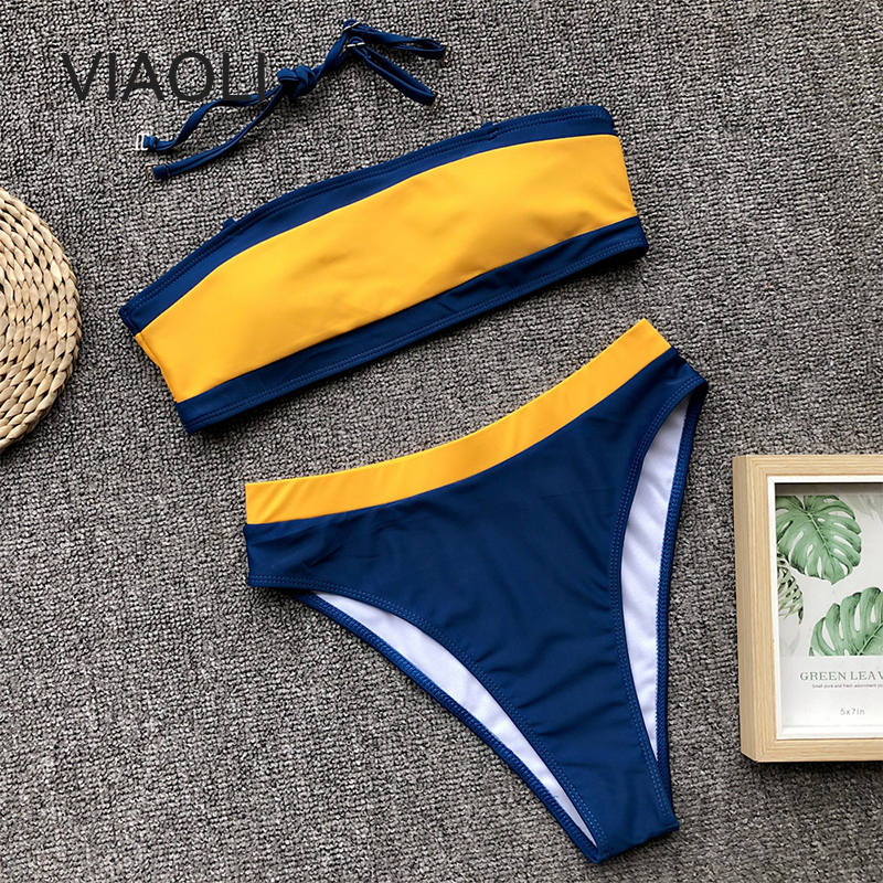 New Summer Women Color Matching Bikini Set Push-up Padded Swimsuit Swimwear Triangle Bather Suit Swimming Suit Biquini
