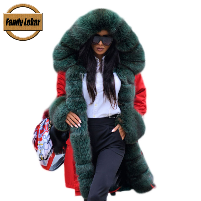 Fandy Lokar FL Real Fur Parka Winter Women Jacket Fashion Genuine Fox With Rabbit Lining Warm Coats