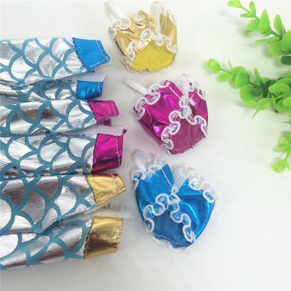 1 قطعة اليدوية الدمى حزب ثوب تنورة أزياء ملابس ل دمية حقيقية حورية البحر الذيل اللباس الطفل لعبة