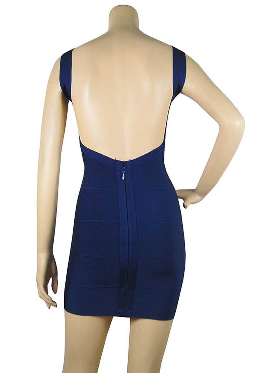Sexy Backless Mini Bandage Jurk Rood Zwart Wit Geel Blauw Spaghetti Strap Jurken Celebrity Party Club Vestido Gratis Verzending