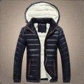 Новый 2016 Мода Хлопок Плюс Бархат Перо Утка Пуховики мужчины Толстый Теплый Большой Меховой Капюшон Повседневная Мужская Зимнее Пальто куртка
