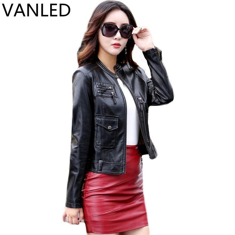 2017 Hot Sale Mandarin Collar Full Pockets Leather Jacket Women New Female Leather Clothing Large Size Coat Motorcycle Jacket