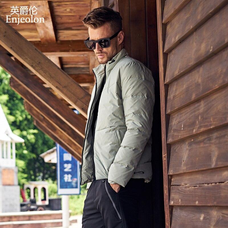 Enjeolon marka zagęścić zimowe ocieplane kurtki mężczyźni lekka odzież Parka białe kaczki płaszcz puchowy jakości dół Parka Plus rozmiar 3XL MF0109 w Kurtki puchowe od Odzież męska na  Grupa 2