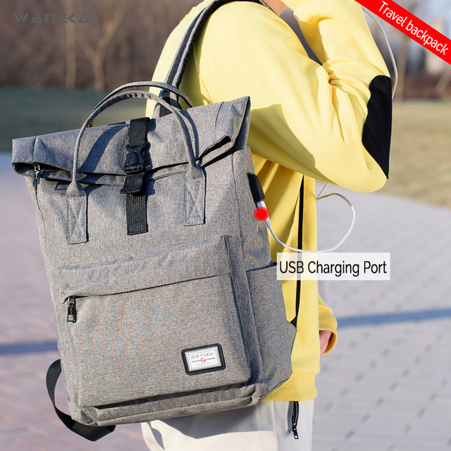 WANGKA Women Men Casual Canvas Backpack with USB Charging 4
