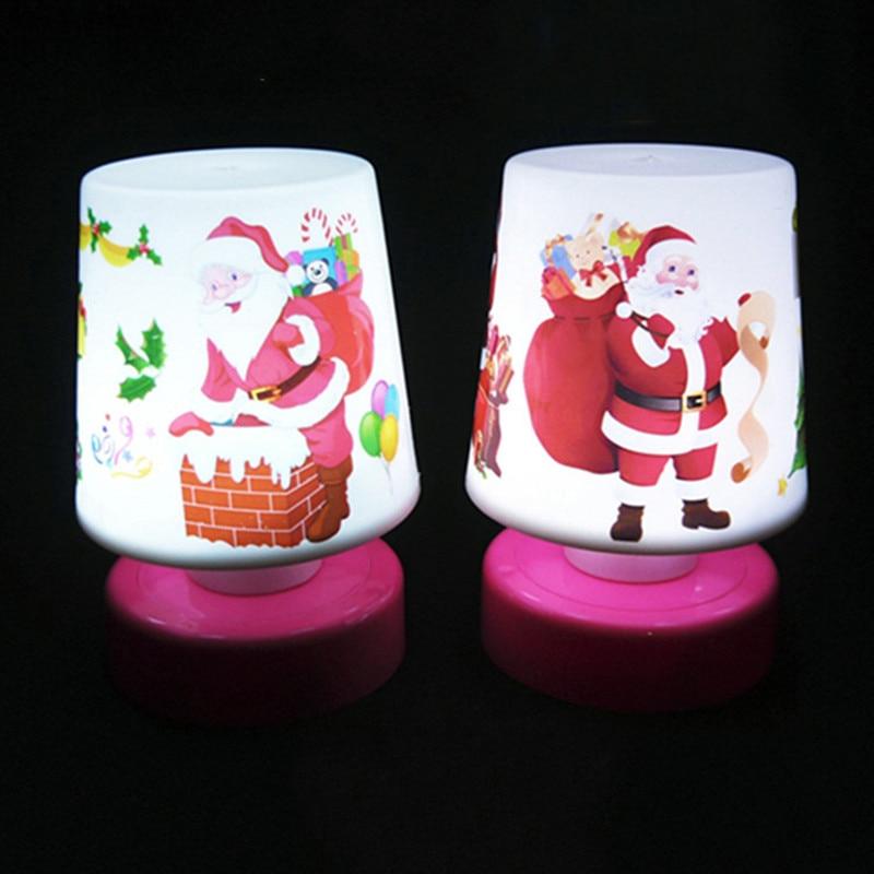 Мини-мультфильм Новогодние товары Санта Клаус Светодиодные ночники красочная настольная  ...