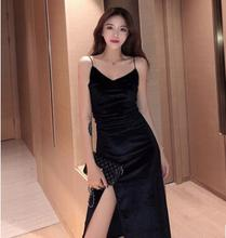 2018 New Women Style Temperament Slim Velvet Sling Skirt Solid Color Sexy One-Piece Dress Party Dress+Loose Sweater Clothes Suit