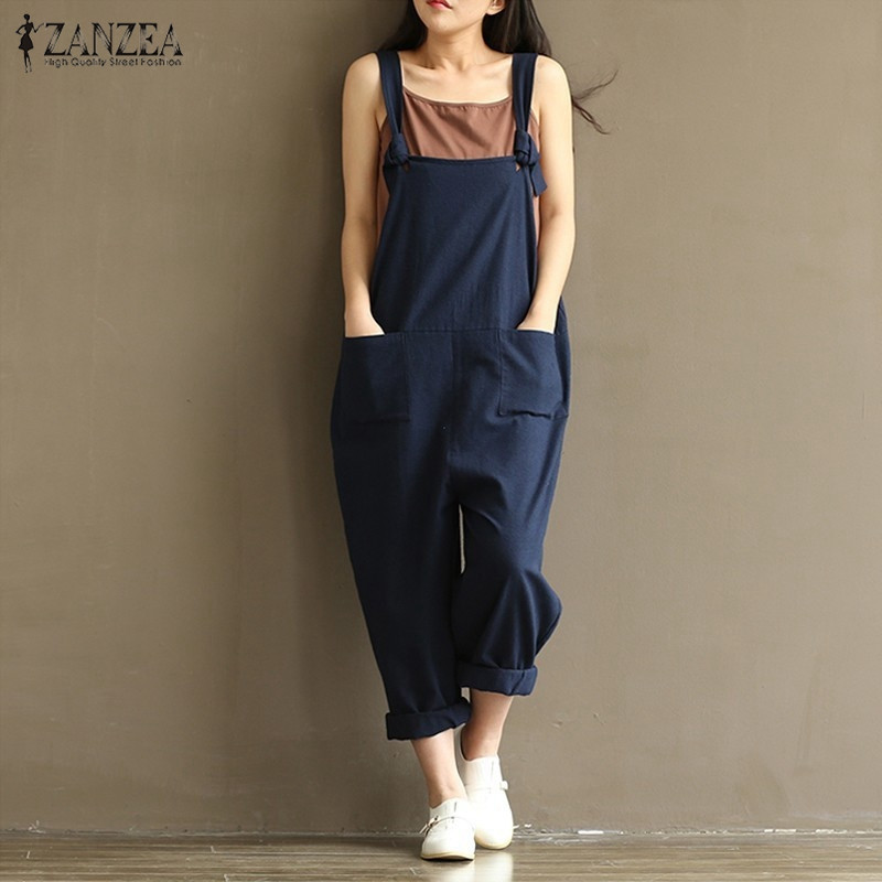 ZANZEA 2019 Casual Rompers Womens   Jumpsuits   Sleeveless Backless Casual Loose Solid Overalls Retro Strapless Playsuits Oversized
