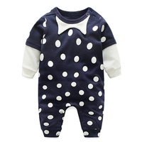 Newborn Baby Jumpsuit Black White Polka Dot Overalls Long Sleeves Boys Girls Clothes