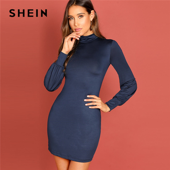 ... SHEIN Navy Mock-Neck Bodycon Solid Dress High Neck Long Sleeve Slim Fit  Short Dress Autumn Modern Lady Elegant Women Dresses ... 9e0cec0ee363