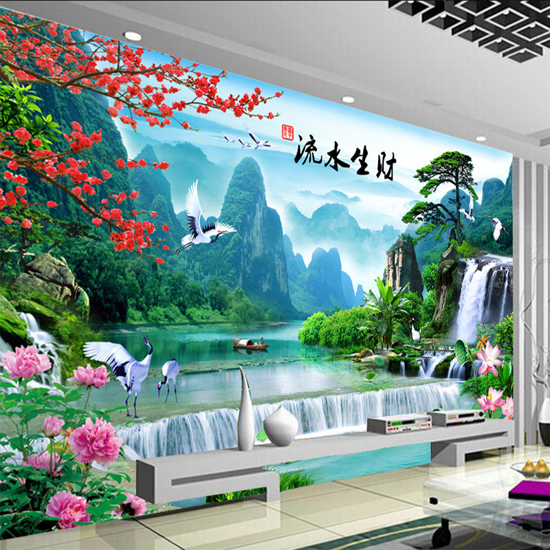 Custom Wall Mural Chinese Style Nature Landscape Wall Painting Living Room Bedroom Photo Wallpaper Home Decor Papel De Parede 3D