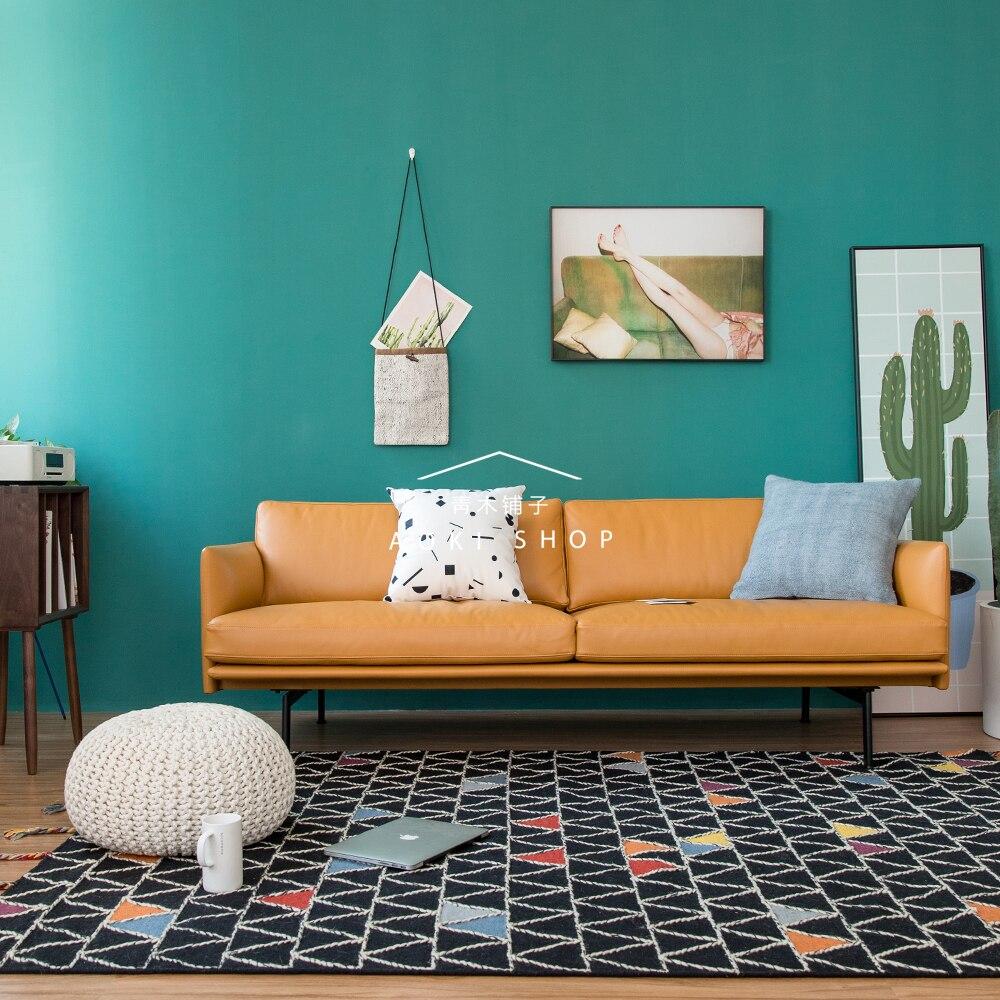 Tapis de laine motif géométrique nordique pour salon tissé à la main canapé style tapis de thé fait à la main