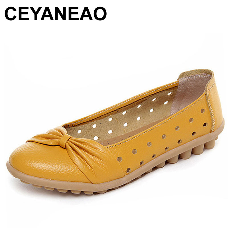 CEYANEAO Spring Summer Fashion Women Leather Shoes 2018 Fashion Bowknot Hollow Breathable Casual Flat Shoes Slip-on Massage C048 2017 new spring imported leather men s shoes white eather shoes breathable sneaker fashion men casual shoes