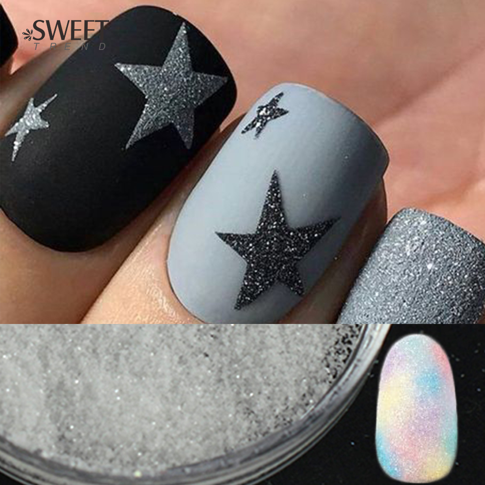 Extra Fine Holographic Chrome Nail Art Powder: 1Box Holographic Sugar Nail Glitter Powder Shining Ultra