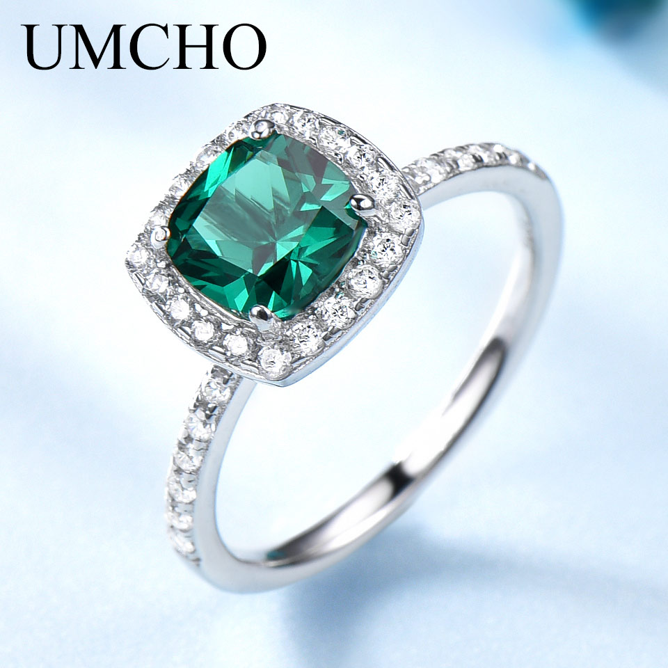 UMCHO Solid 925 Sterling Silver Rings For Women Emerald Ring Birthstone Green Gemstone Wedding Band Romantic Statement Jewelry