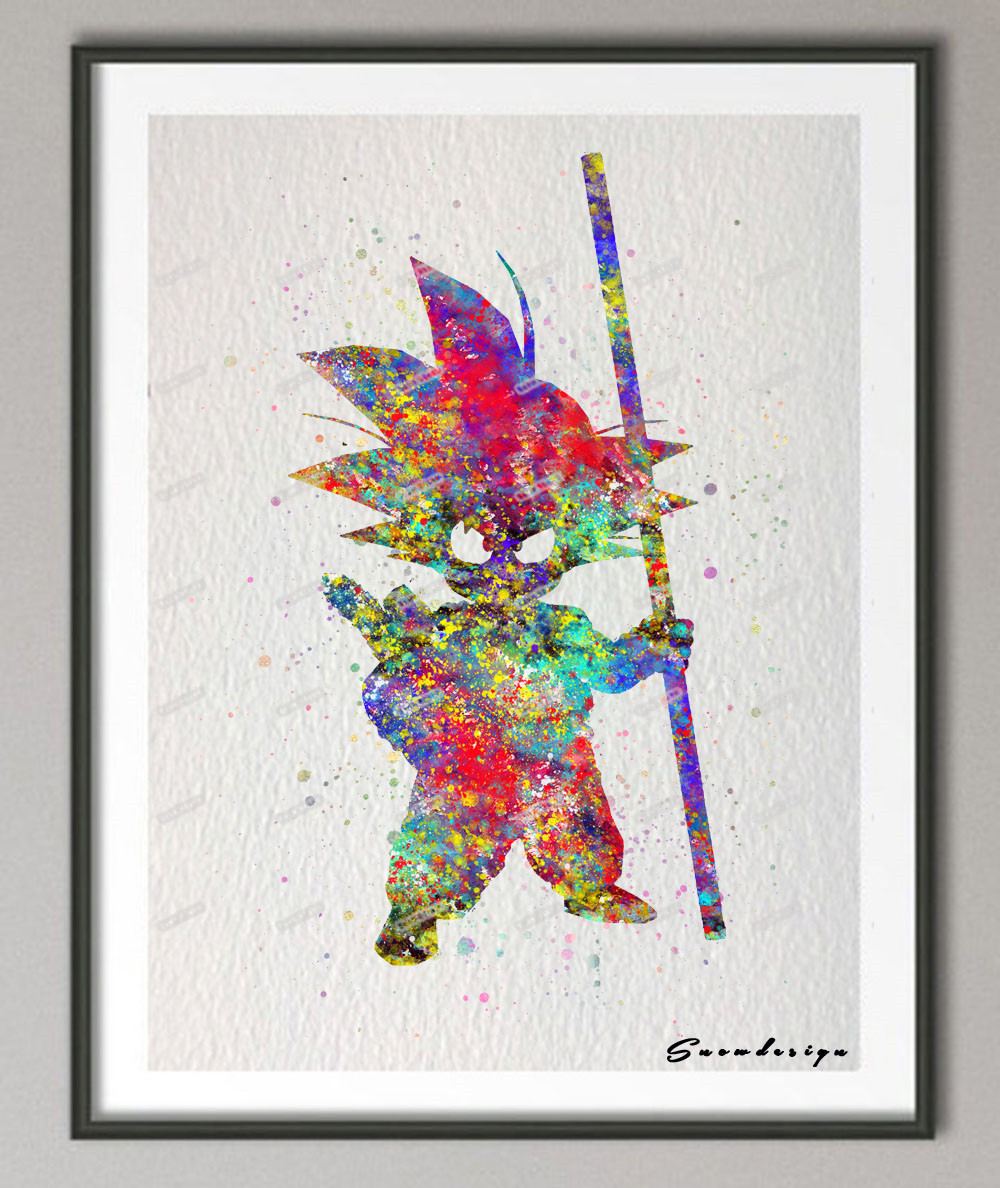 original watercolor superhero poster prints pictures abstract anime manga wall art canvas painting kids room decor - Kid Prints