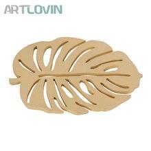 2pcs/set Creative Gold Wooden Coaster Placemats Leaf Shape Coasters Coffee Cup Mat Tea Pad Dining Fashion Wood Decor