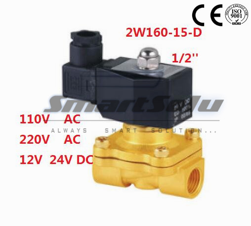 Free Shipping New 1/2 Inch Brass Solenoid Valve 12V DC Electric Air Water Gas Diesel Fuel DIN Coil 2W160-15-D free shipping 1 2 plastic solenoid valve 12v water plastic valve 2 way dc12v 2w160 15p