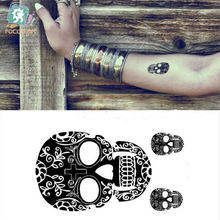 2017 Real Sale Ac-089 Men And Women Sexy Arm Shoulder Chest Tattoo Art Skull Design Fake Stickers Waterproof Temporary(China)