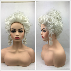 Image 5 - High Quality Marie Antoinette Princess Medium Curly Cosplay Wig  Heat Resistant Synthetic Hair Cosplay Wigs + Wig Cap