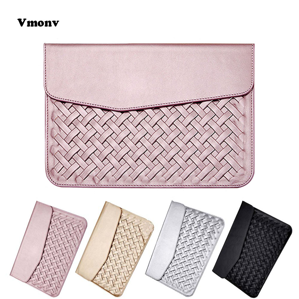 Vmonv Luxury Weaving PU Leather Laptop Case for Macbook Air 11 Pro Retina12 13 15 Liner Sleeve Bag for Macbook A1706 A1707 A1708
