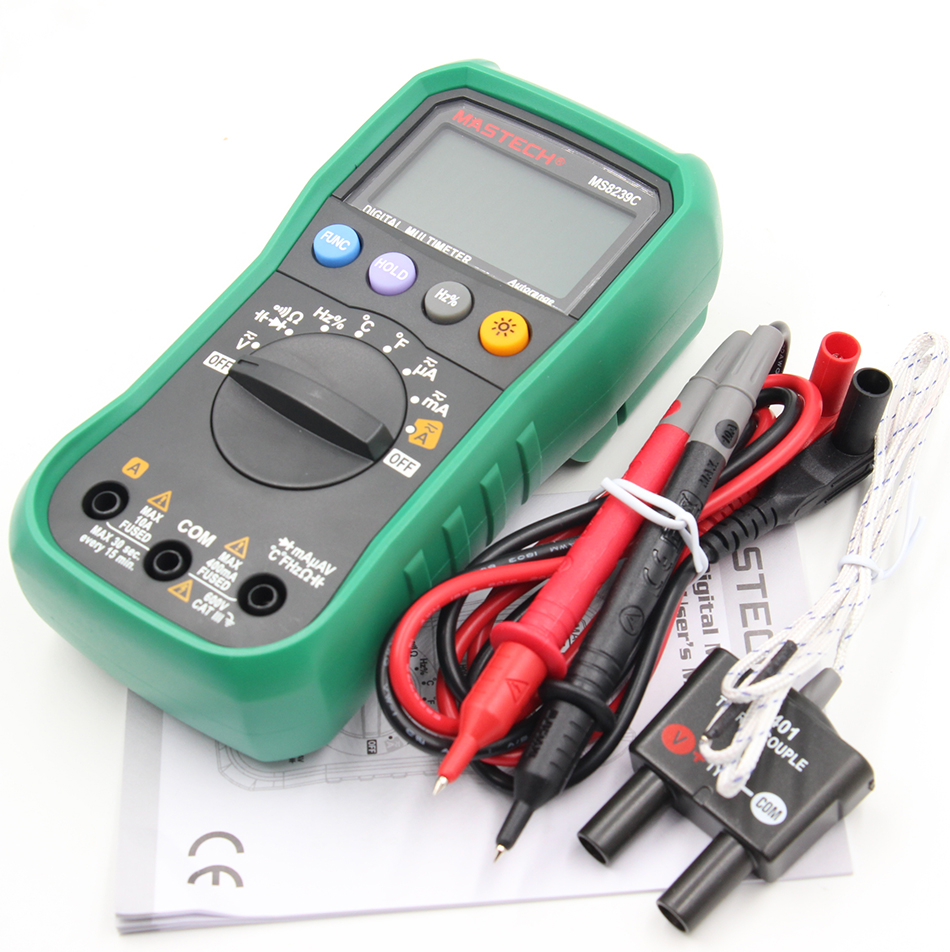 Auto range Handheld 3 3/4 Digital Multimeter Mastech MS8239C AC DC Voltage Current Capacitance Frequency Temperature Tester mastech my68 handheld lcd auto manual range dmm digital multimeter dc ac voltage current ohm capacitance frequency meter