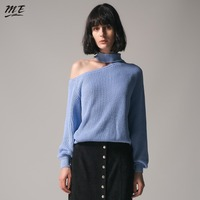 ME 2018 Spring Women Sweaters Halter Off One Shoulder Long Lantern Sleeve Women Oversized Sweaters Casual