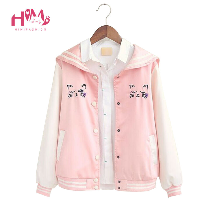 New Summer Fashion Ladies Navy all-match cat embroidery thin coat female loose autumn jacket 1