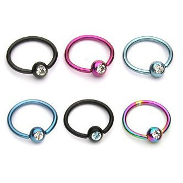 1pc Colorful Hoop Nose Rings with Captive Bead Crystal Septum Lip Labret Ring Tragus Piercing Helix Earring Body Jewelry