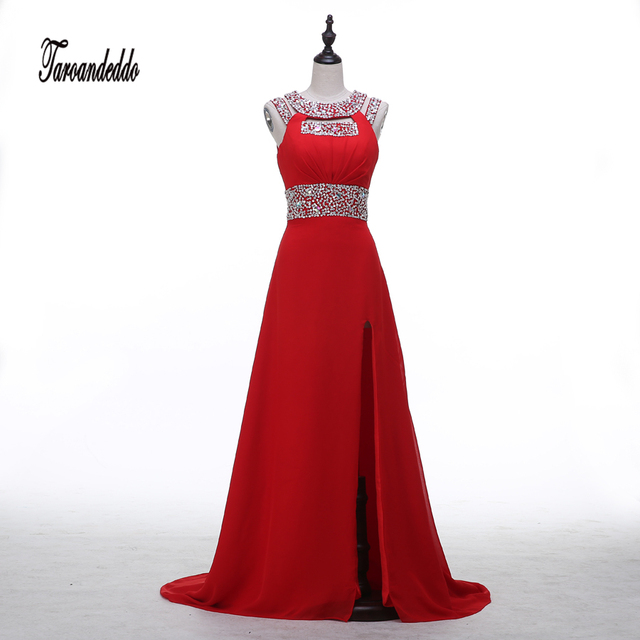 Halter Neckline Cutout Cap Sleeves Hot Red Beading Prom Dress Side ...
