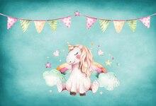 HUAYI Alpaca coloridas bandeiras banner de vinil cenários de fotografia fundo da foto Do Bebê de aniversário Crianças Festa Cenário Retrato W-420