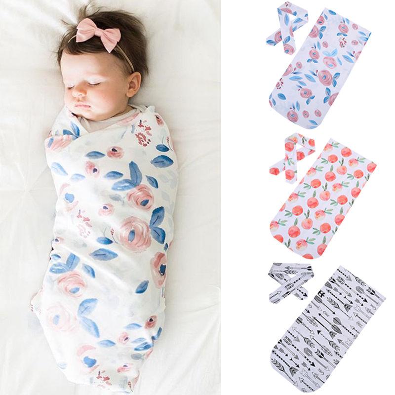 2018 Nieuwe Katoenen Baby Dekens Gedrukt Pasgeboren Baby Baby Boy Meisje Slapen Inbakeren Wrap + Hoofdband 2 Stks