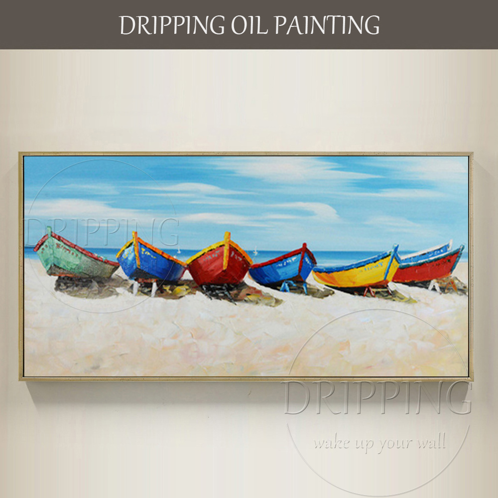 Artist Hand-painted High Quality Hawaii Beach Oil Painting on Canvas Blue Ocean Landscape Boats Oil Painting for Living Room image